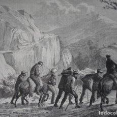 Arte: GUERRA CARLISTA HERIDOS DE OROQUIETA HACIA PAMPLONA EN AMBULANCIA .1872.BUENA IMPRESION. Lote 238204185