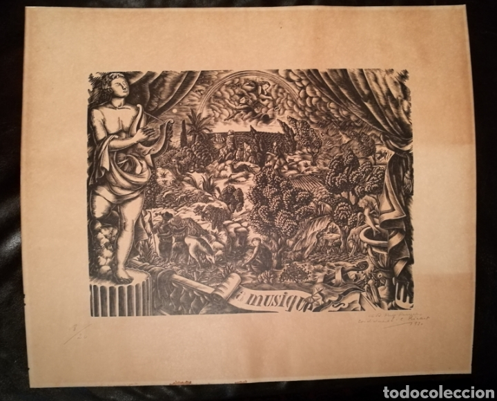 LA MUSIQUE POR ENRIC CRISTÒFOL RICART (1893-1960) DEDICADA A PUIG PERUCHO EN 1930 (Arte - Xilografía)