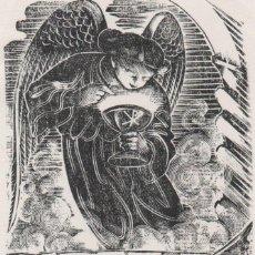 Arte: XILOGRAFIA ORIGINAL DE ENRIC C RICART. PRUEBA DE ENSAYO. ALEGORÍA EUCARÍSTICA CON EL TEXTO MARTA. Lote 241405950