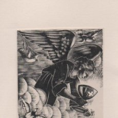 Arte: XILOGRAFIA ORIGINAL DE ENRIC C RICART. PRUEBA DE ENSAYO. EUCARISTÍA ANGEL CON CÁLIZ. Lote 241407595