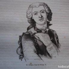 Arte: DON FELIPE HIJO DE FELIPE V . REINADO DE FELIPE V .GRABADO DEL AÑO 1850. Lote 244530400