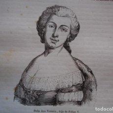 Arte: ANA VICTORIA HIJA DE FELIPE V . REINADO DE FELIPE V .GRABADO DEL AÑO 1850. Lote 244530440