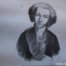 Arte: INFANTE CARDENAL DON LUIS HIJO DE FELIPE V . REINADO DE FELIPE V .GRABADO DEL AÑO 1850. Lote 244807865