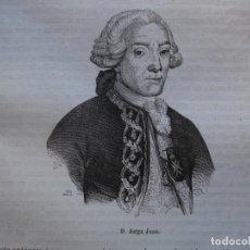 Arte: JORGE JUAN .REINADO DE FERNANDO VI .GRABADO DEL AÑO 1850. Lote 245202610