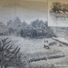 Arte: FILIPINAS EXPEDICION MILITAR A LA ISLA DE JOLO ANTIGUO GRABADO XILOGRAFICO XILOGRAFIA 1883. Lote 246690555