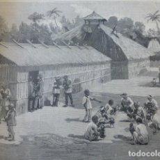 Arte: FILIPINAS INDIOS DEL CAMPO CON GALLOS DE PELEA ANTIGUO GRABADO XILOGRAFICO XILOGRAFIA 1883. Lote 246690740