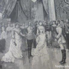 Arte: MADRID PALACIO REAL BAILE DE CORTE ANTIGUO GRABADO XILOGRAFICO XILOGRAFIA 1883. Lote 246819590