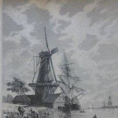 Art: HOLANDA UN CANAL ANTIGUO GRABADO XILOGRAFICO XILOGRAFIA 1884. Lote 247170400