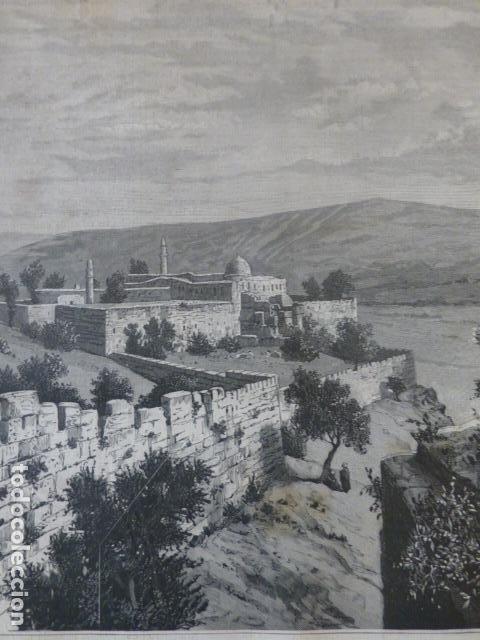 JERUSALÉM MURALLAS DEL TEMPLO ANTIGUO GRABADO XILOGRAFICO XILOGRAFIA 1884 (Arte - Xilografía)