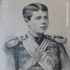 Arte: NICOLAS DUQUE HEREDERO DEL IMPERIO DE RUSIA ANTIGUO GRABADO XILOGRAFICO XILOGRAFIA 1884. Lote 247188825