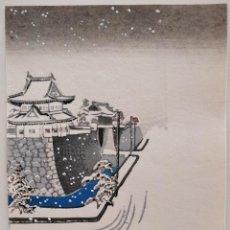 Arte: INTERESANTE GRABADO JAPONÉS ORIGINAL, BUEN ESTADO, PALACIO JAPONÉS NEVADO. Lote 247199065