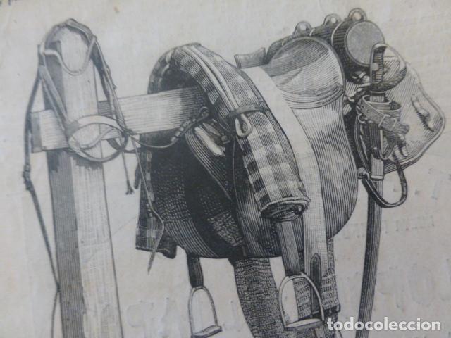 SILLA DE MONTAR ANTIGUO GRABADO XILOGRAFICO XILOGRAFIA 1884 (Arte - Xilografía)