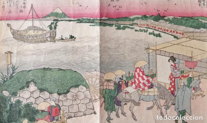 Arte: Excelente grabado japonés original del maestro Hokusai, monte Fuji, Ukiyo-e, gran calidad - Foto 2 - 248030295