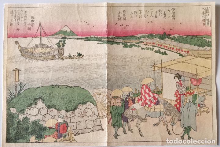 EXCELENTE GRABADO JAPONÉS ORIGINAL DEL MAESTRO HOKUSAI, MONTE FUJI, UKIYO-E, GRAN CALIDAD (Arte - Xilografía)