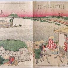 Arte: EXCELENTE GRABADO JAPONÉS ORIGINAL DEL MAESTRO HOKUSAI, MONTE FUJI, UKIYO-E, GRAN CALIDAD. Lote 248030295