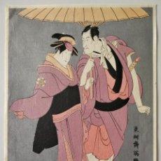 Arte: MAGISTRAL GRABADO JAPONÉS DEL MAESTRO TŌSHŪSAI SHARAKU, PRECIOSOS COLORES, BUEN ESTADO, UKIYO-E. Lote 248096370