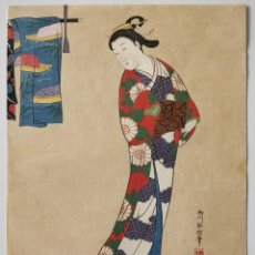 Arte: EXCELENTE GRABADO JAPONÉS ORIGINAL DEL MAESTRO NISHIKAWA SUKENOBU, UKIYO-E, RETRATO DE UNA GEISHA. Lote 248097875