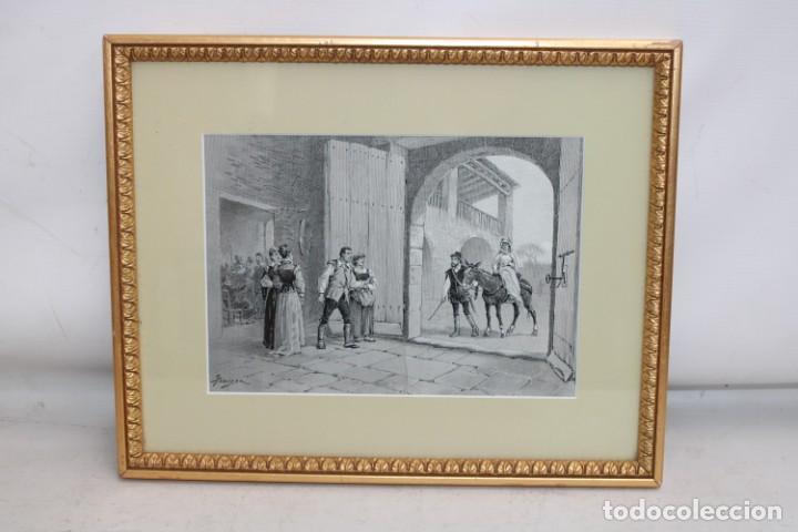 JAUME PAHISSA Y LAPORTA (1846-1928). XILOGRAFIA. ESCENA CON PERSONAJES (Arte - Xilografía)