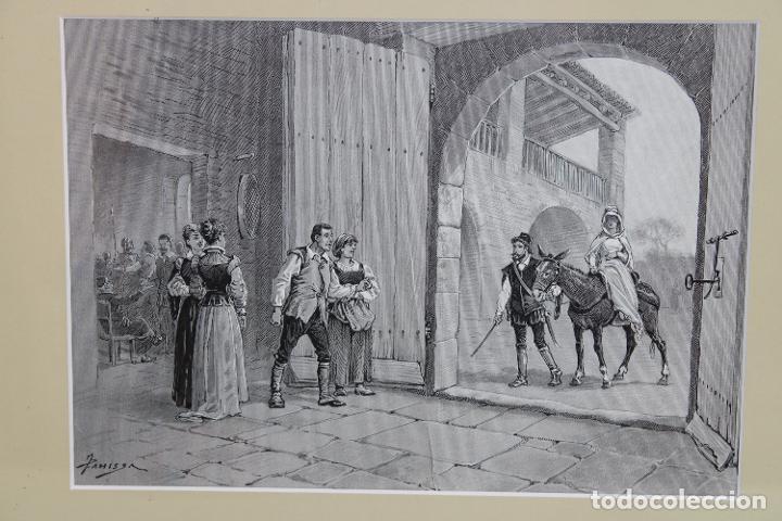 Arte: JAUME PAHISSA Y LAPORTA (1846-1928). XILOGRAFIA. ESCENA CON PERSONAJES - Foto 2 - 251166935