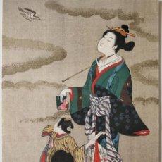 Arte: PRECIOSO GRABADO JAPONÉS ORIGINAL DE UNA GEISHA CON SU HIJA, BUEN ESTADO, XILOGRAFÍA, UKIYO-E. Lote 254415615