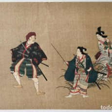 Arte: EXCELENTE GRABADO JAPONÉS ORIGINAL, GUERREROS Y GEISHAS, UKIYO-E, XILOGRAFIA, BUEN ESTADO. Lote 254601000