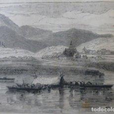 Arte: IRUN GUIPUZCOA VISTA GENERAL GRABADO XILOGRAFICO XILOGRAFIA 1874. Lote 254821945