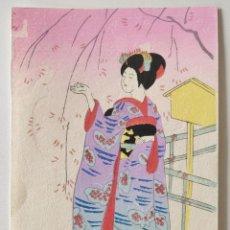 Arte: BONITO GRABADO JAPONÉS, RETRATO DE UNA GEISHA, UKIYO-E, XILOGRAFIA, BUEN ESTADO. Lote 255336390