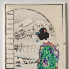 Arte: BONITO GRABADO JAPONÉS, PAISAJE NEVADO CON GEISHA, UKIYO-E, XILOGRAFIA, BUEN ESTADO. Lote 255336765
