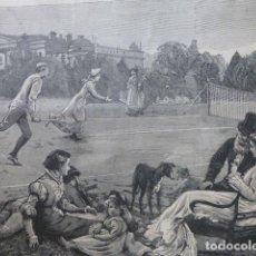Arte: EL NUEVO JUEGO DEL LAW TENNIS GRABADO XILOGRÁFICO XILOGRAFÍA 1880. Lote 255948230