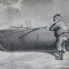 Arte: BELUSO PONTEVEDRA PATRÓN DE LANCHA GRABADO XILOGRÁFICO XILOGRAFÍA 1880. Lote 255965405