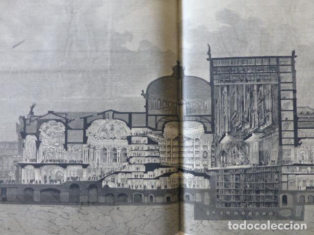 PARÍS PALAIS GARNIER OPERA VISTA TRASVERSAL GRABADO XILOGRAFICO XILOGRAFIA 1875 (Arte - Xilografía)