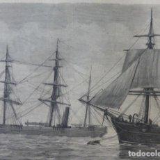 Arte: PORTSMOUTH INGLATERRA LOS EXPOLARADORES ALBERT Y DISCOVERY GRABADO XILOGRAFICO XILOGRAFIA 1875. Lote 256124115