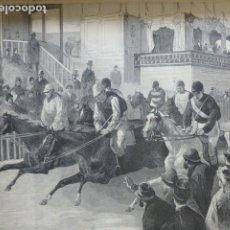 Arte: MADRID HIPODROMO CARRERA DE CABALLOS GRABADO XILOGRAFICO XILOGRAFIA 1878. Lote 257344130
