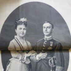 Arte: ALFONSO XII Y MARIA DE LAS MERCEDES REYES DE ESPAÑA GRABADO XILOGRAFICO XILOGRAFIA 1878. Lote 257345220