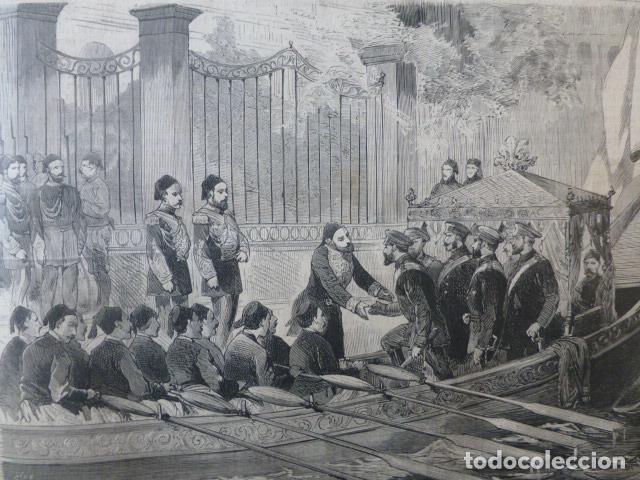 VISITA DEL GRAN DUQUE DE RUSIA AL SULTAN DE TURQUIA GRABADO XILOGRAFICO XILOGRAFIA 1878 (Arte - Xilografía)