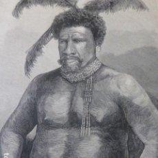 Arte: CETEWAYO REY DE LOS ZULÚS GRABADO XILOGRAFICO XILOGRAFIA 1878. Lote 257386070