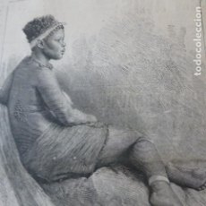 Arte: BELLEZA ZULÚ GRABADO XILOGRAFICO XILOGRAFIA 1878. Lote 257388925