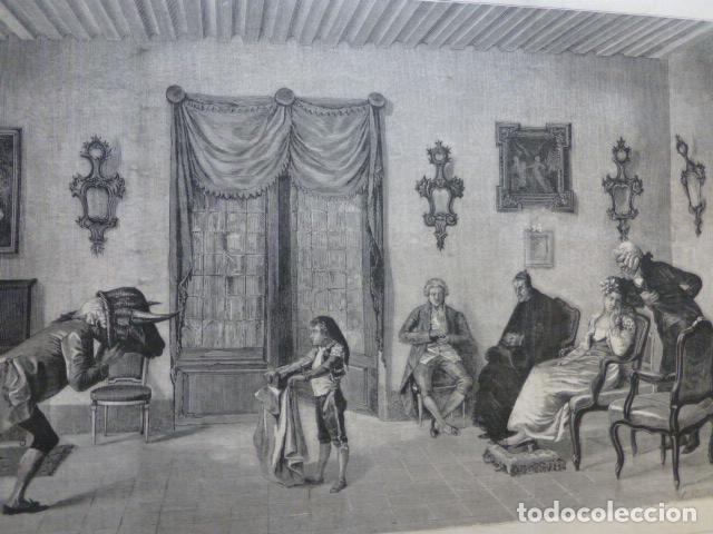 LA LECCION DE TOREO DE ENRIQUE MÉLIDA GRABADO XILOGRAFICO XILOGRAFIA 1878 (Arte - Xilografía)
