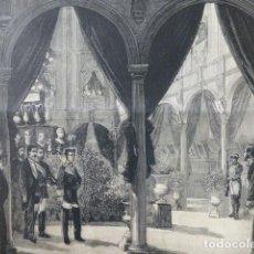 Arte: MÁLAGA INAUGURACIÓN EXPOSICIÓN ARTÍSTICA POR ALFONSO XII GRABADO XILOGRAFICO XILOGRAFIA 1877. Lote 257456465