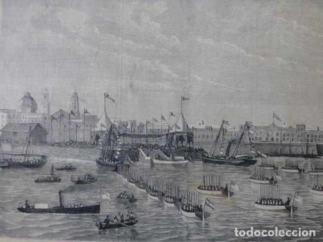 CADIZ ASPECTO DEL FONDEADERO CON LA ESCUADRA GRABADO XILOGRAFICO XILOGRAFIA 1877 (Arte - Xilografía)
