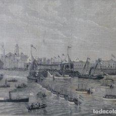 Arte: CADIZ ASPECTO DEL FONDEADERO CON LA ESCUADRA GRABADO XILOGRAFICO XILOGRAFIA 1877. Lote 257457235