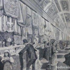 Arte: ROMA EXPOSICION DE OFRENDAS A SU SANTIDAD GRABADO XILOGRAFICO XILOGRAFIA 1877. Lote 257462485