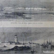 Arte: RUMANÍA VISTA DE BRAILA Y OTTENITZA GRABADO XILOGRAFICO XILOGRAFIA 1877. Lote 257462980