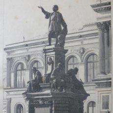 Arte: MEXICO MONUMENTO DE CRISTOBAL COLON GRABADO XILOGRAFICO XILOGRAFIA 1875. Lote 257468675