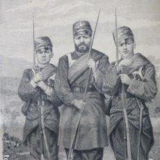Arte: BARBASTRO ANDRÉS VALIÑAS RUFO RODRÍGUEZ CARMELO GARCÍA SOLDADOS GRABADO XILOGRAFICO XILOGRAFIA 1875. Lote 257474430