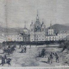 Arte: LA GRANJA DE SAN ILDEFONSO SEGOVIA VISTA DE LA PLAZA PALACIO GRABADO XILOGRAFICO XILOGRAFIA 1875. Lote 257475640