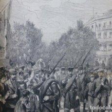 Arte: BARCELONA ENTRADA TROPAS VENCEDORAS SEO DE URGEL CON CARLISTAS GRABADO XILOGRAFICO XILOGRAFIA 1875. Lote 257477165