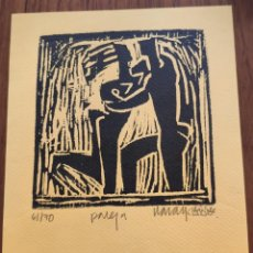 "Arte: XILOGRAFIA ORIGINAL DE NARAY TITULADA ""PAREJA"". FIRMADA Y NUMERADA.. Lote 262764290"