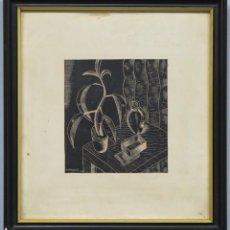 Arte: BODEGON CUBISTA. XILOGRAFIA. FIRMADO AMBROS. 1938. Lote 265712794