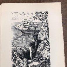 Arte: LOTE DE 4 XILOGRAFIAS E.C. RICART, BARCELONA. DE LA OBRA ANCORES I ESTRELLES. ORIGINALES, 1949. Lote 266894279